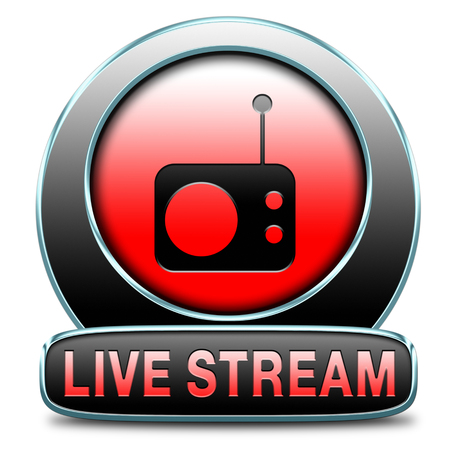 live stream listening: live stream radio music button icon or listen live on air broadcasting songs program