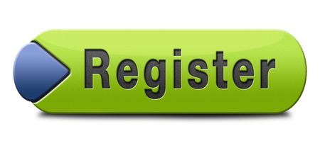 register: register here en no sign or icon. Membership registration button or sticker.