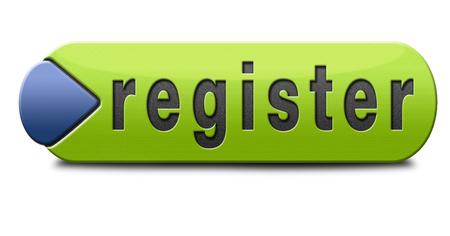 registreer u dan nu lid registratie knop teken of pictogram Stockfoto