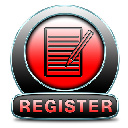 register here en no sign or icon. Membership registration button or sticker.  photo
