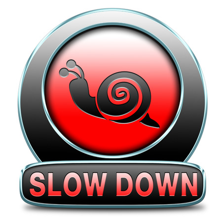 reducing: slow down take it easy, Slowing down reducing stress and slow relaxing life by taking it easy and slowly. Icon or sign for stress management.  Stock Photo