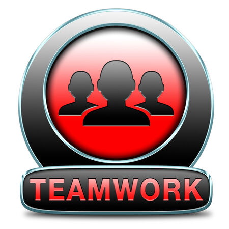 teamwork concept icon, team work and cooperation in partnership working together button  photo