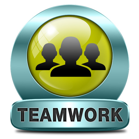 teamwork concept icon, team work and cooperation in partnership working together business partners photo