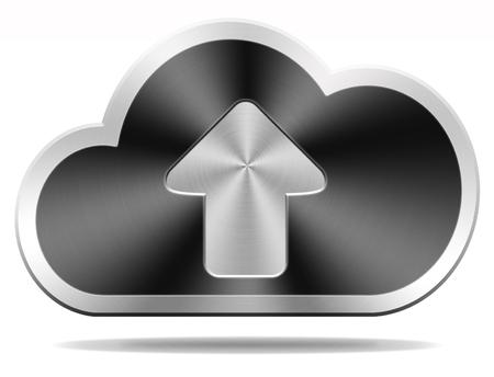 uploading: cloud data upload icon uploading file document photo music or video on cloud  storage database as a backup service