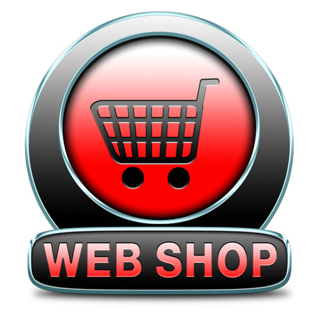 webshop: web shop button or online shopping icon for internet webshop or store