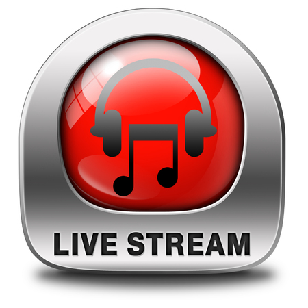 listen live stream: Listen live stream music song audio or radio button or icon Stock Photo