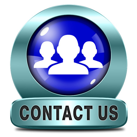 contact us here for feedback icon or sign. Coordinates and address for customer support and extra information Stock Photo - 25598194