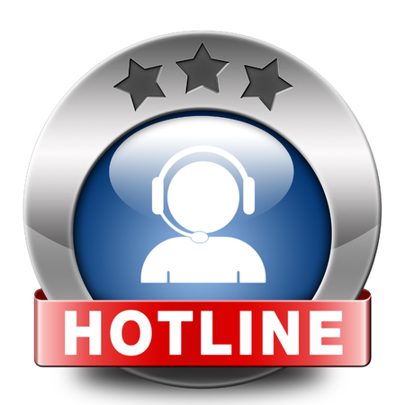helpline: hotline icon call center button or helpline sign for online customer support Stock Photo
