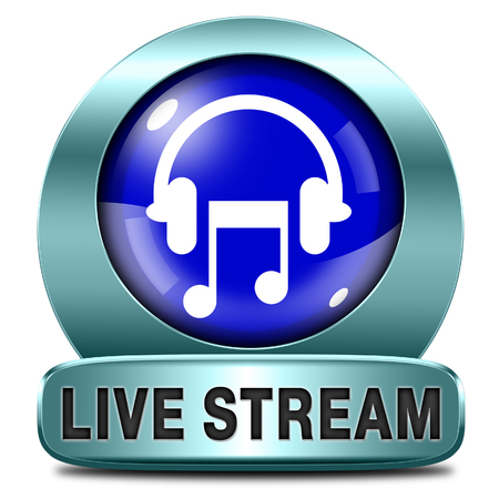 Listen live stream music song audio or radio button or icon photo