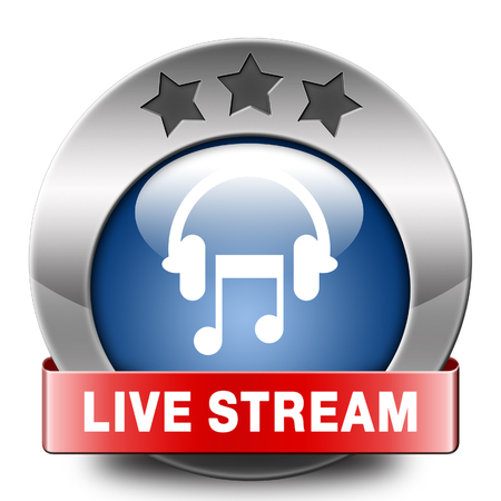live stream listening: Listen live stream music song audio or radio button or icon Stock Photo