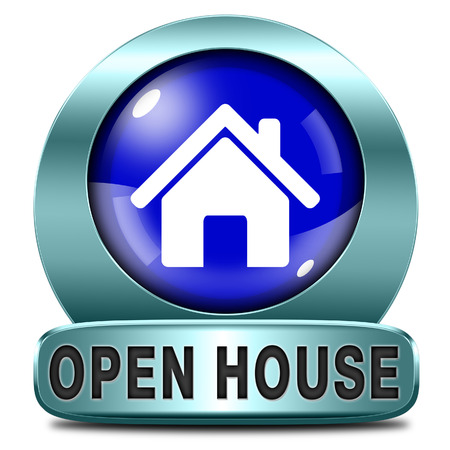 renting: Open house sign banner or placard for renting or buying a new home visit a real estate property model house