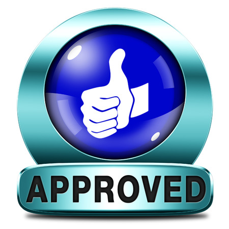 approved thumbs up passed test and access granted approval and accepted accredited button or icon Stock Photo - 25701643