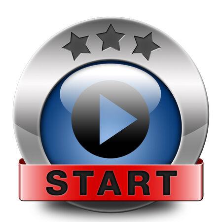 incominciare: avviare o iniziare il filmato o il video gioco nuovo inizio Archivio Fotografico