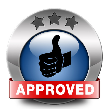 approved thumbs up passed test and access granted approval and accepted accredited button or icon Stock Photo - 25701767