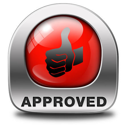 approved thumbs up passed test and access granted approval and accepted accredited button or icon Stock Photo - 25701768
