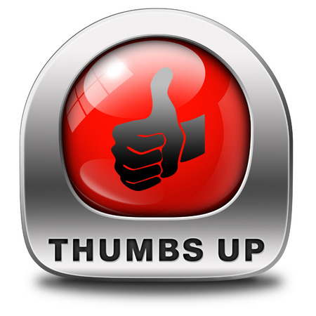 excellent work: thumbs up Good and excellent work, job well done and task finished and accomplished. Sign or icon.  Stock Photo