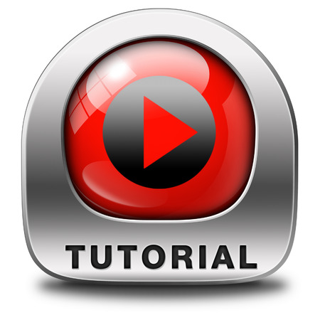 tutorial: tutorial icon  learn online video lesson or class, website education button Stock Photo