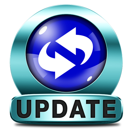 news update: Update software now and here to the latest newest version or new edition, button banner or icon
