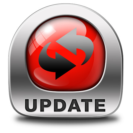 versions: Update software now and here to the latest newest version or new edition, button banner or icon