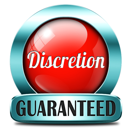 discreet: discretion guaranteed tep secret and confidential personal information discreet icon or button Stock Photo