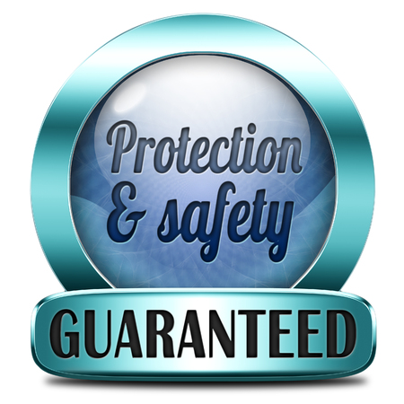 protection and safety first label or sign protect data privacy and personal info security guaranteed photo