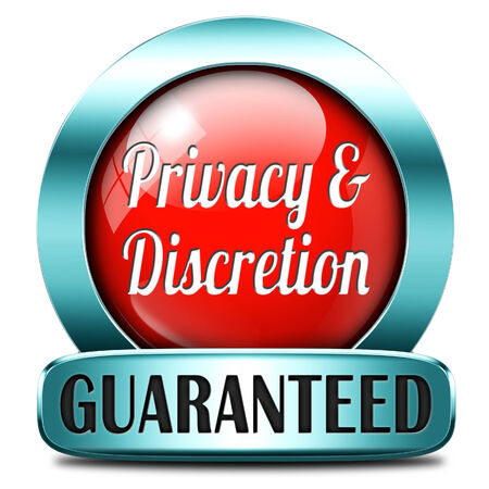 discretion: private and personal information icon, banner for privacy protection and discretion of restricted info