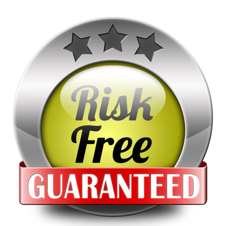 safe investments: etichetta o segno risk free soddisfazione 100% alta qualit� del prodotto sicuro investimento garantito negozio web di garanzia non rischia icona adesivo o di sicurezza prima bandiera