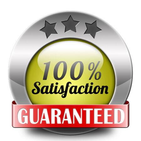 satisfied customer:  Satisfaction customer service icon or button 100% satisfied guaranteed