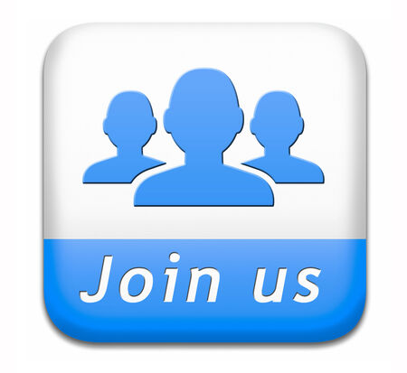 Join us now button and register here for free today. Registration icon member or membership sign photo