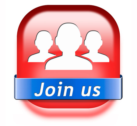 Join us now button and register here for free today. Registration icon member or membership sign Stock Photo - 26249326