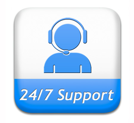 Support-Desk-Symbol oder 24/7 Helpdesk-Taste technische Hilfeleistungen und Kundendienst Standard-Bild - 26249495