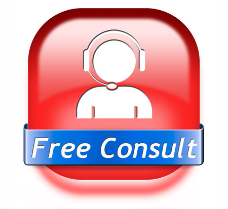 service desk: free consult button or help and information desk icon optimal customer support Gratis consultation service and advice.