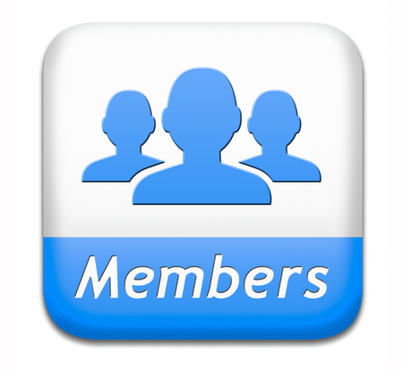 only members: members only restricted area icon sign or sticker become a member and join here to get your membership application label or button.