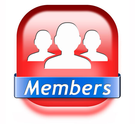 members only restricted area icon sign or sticker become a member and join here to get your membership application label or button. Stock Photo - 26249413