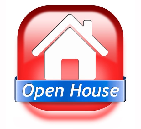 Open house sign banner or placard for renting or buying a new home visit a real estate property model house Stock Photo - 26249336