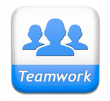 teamwork button concept, team work and cooperation in partnership working together business partners photo