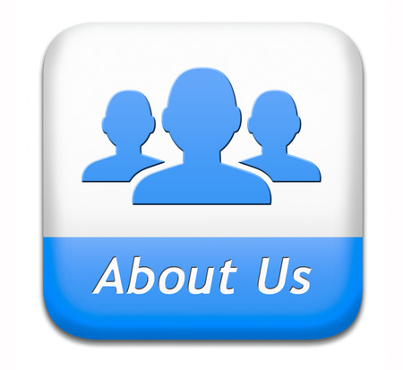about us: About us button our business or working team members icon Stock Photo