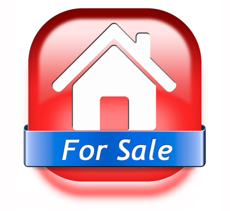 For sale banner, selling a house apartment or other real estate sign. Home to buy icon.  photo