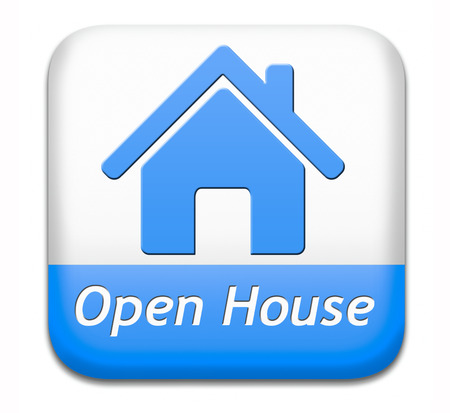 Open house sign banner or placard for renting or buying a new home visit a real estate property model house Stock Photo - 26249373