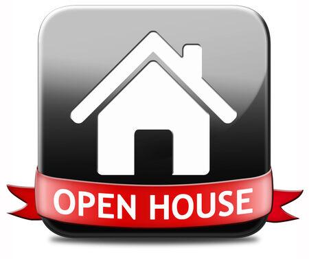 open huis: Open huis teken banner of plakkaat voor het huren of kopen van een nieuw bezoek aan huis een onroerend goed model huis Stockfoto