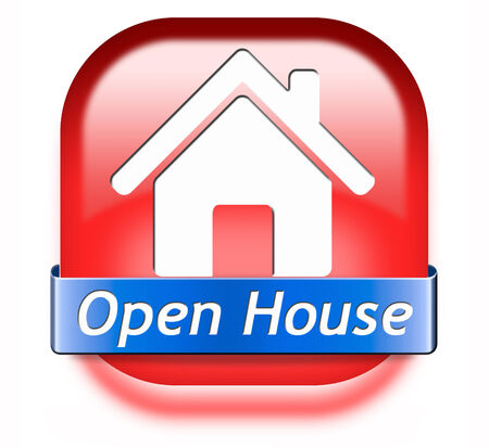 Open house sign banner or placard for renting or buying a new home visit a real estate property model house Stock Photo - 26249377
