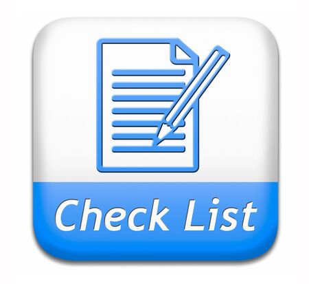 validation: Check list button validation evaluate and review Stock Photo