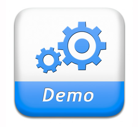 demonstration: Demo button or icon for free trial download demonstration
