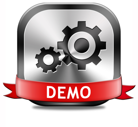Demo button or icon for free trial download demonstration photo