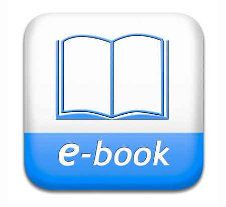 Ebook downloading and read online electronic book or e-book download button or icon Foto de archivo