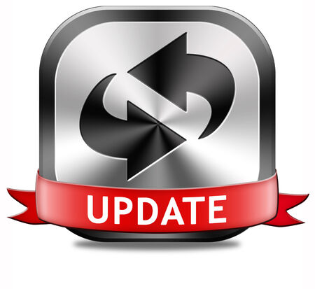 edition: Update button updating software now and here to the latest newest version or new edition Stock Photo