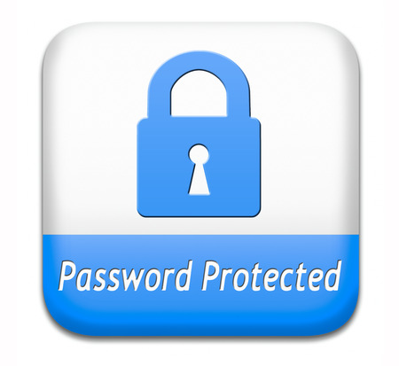 Password protected data protection by using strong safe passwords recover and change for security and safety button 写真素材