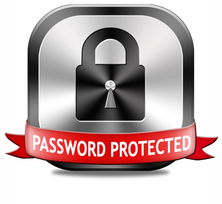 Password protected data protection by using strong safe passwords recover and change for security and safety button photo