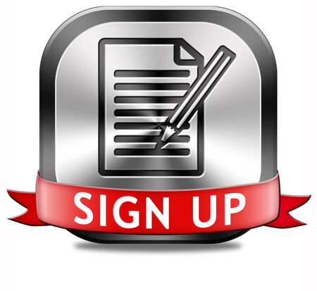 subscribe here: sign up or apply now icon and subscribe here for membership. Fill in application form. Stock Photo