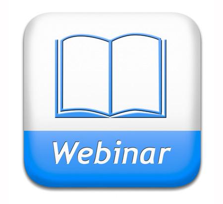 webinar: webinar online conference internet web meeting or workshop live video chat Stock Photo